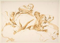 Two Women and a Winged Boy on Clouds  Giovanni Battista Tiepolo