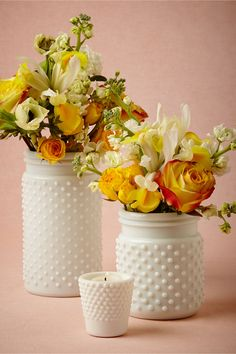 Milk Glass Hobnail Jars - so pretty for a centerpiece