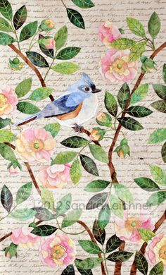 "The Tufted Titmouse Block pattern, 10.5w x 17""l, by Sandra Leichner for The Naturalist's Notebook Series Quilt - applique realistic bird wild rose embroidery"