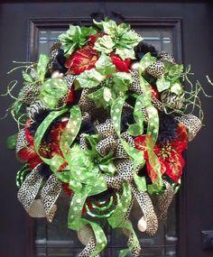 Winter Wreath Funky Christmas Wreath Leopard by LuxeWreaths, $174.00