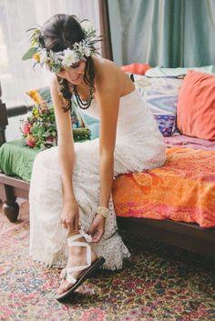 Sseko Design's wedding sandals!  #flowercrown #bohowedding
