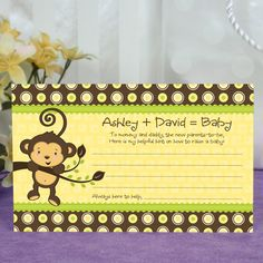 Monkey Neutral - Personalized Helpful Hint Advice Cards - Baby Shower Game