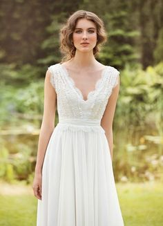 Designer Wedding Dress Wedding Gown Bohemian Wedding dress Made from Chiffon, French  lace , natural silk with pearls