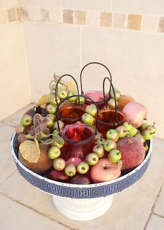 Centerpiece candle summer with fruit