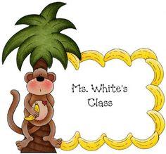 Ms. White's First Grade printabl frame, children clipart, bulletin board, teacher, zoo pendous