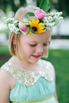 Mint and gold flower girl dress and adorable flower crown: http://www.stylemepretty.com/little-black-book-blog/2014/09/24/mint-gold-wedding-of-walk-in-love-style-blogger/ | Photography: Brooke Courtney - http://www.brookecourtney.com/