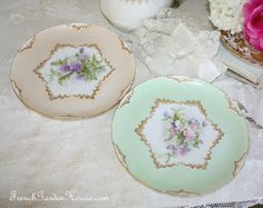 Pair Antique French Handpainted Limoges Floral Cabinet Plates