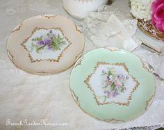 Pair Antique French Handpainted Limoges Floral Cabinet Plates plate, antiqu porcelain