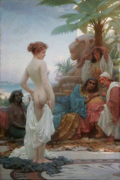 Ernest Normand, 1894, The White Slave  And now we have transitioned to a complete D/s fantasy.  The (white) girl has been sold into an Arabian-Nights otherworld, and she is displaying herself for her (non-white) masters.  She is still shy, of course, but the emotion being invoked here is not horror or political critique, but raw sensuality: a (captive) princess fantasy.