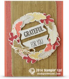 Stampin Up Four Feathers 'Grateful for You' Fall Wreath card #stampinup #cardmaking #handmade #thankyou #thanksgiving