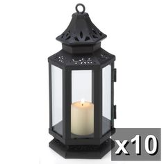 10 Black Western Colonial Stagecoach Candle Holders Lanterns Wedding Centerpiece