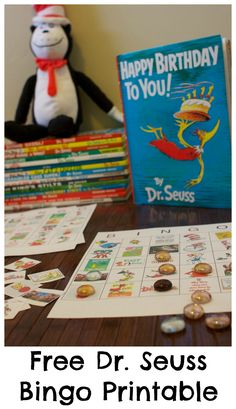 Happy Birthday Dr. Seuss!  Free Dr. Seuss Bingo Game Printable includes all 10 bingo boards.