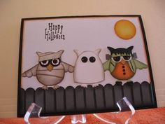 Three more goblins on a fence by graffiti - Cards and Paper Crafts at Splitcoaststampers