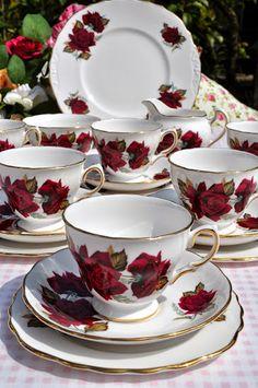 Royal Vale vintage china 1960s red roses tea set