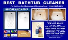 REVIEW.  did the trick. Just beautiful. This review is from: Bathtub Cleaner Express ROG 1 Tub and Shower Cream Cleaning Solution (Health and Beauty) Works on the stained no-skid tub bottoms when nothing else will get them clean. Expensive, but a little goes a long way--and it works! We have water witha lot of lime in it. This product contains acid and a mild abrasive that makes the stained tub look like new again. Nothing else worked for us. This is my second purchase of this cleaner.