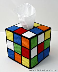 Rubix Cube tissue box cover, inspired by The Big Bang Theory prop