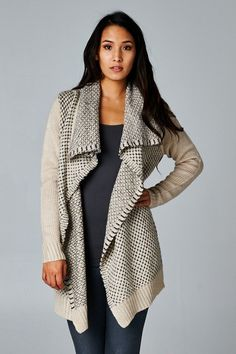 Relaxed, Comfortable, Wool Blend Open Front Sweater with Soft Cascading Layers.