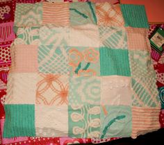 turquoise and peach chenille blanket soon to be