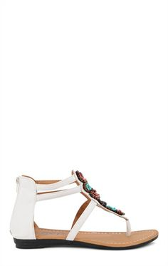 Deb Shops #Gladiator #Sandal with Multicolor Beading