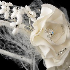 Ivory Flower Tulle Headpiece Headband