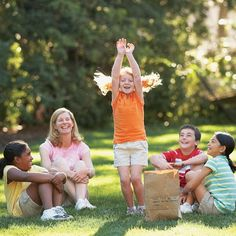 Pass the Silly Bag. Each child takes a turn of pulling an idea from bag and doing what it says... cluck like a chicken, bounce like tigger, blow up a pretend balloon and pop it, Crawl like a baby...