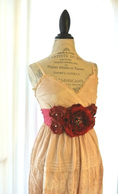 Gypsy cowgirl Slip Dress, romantic, boho, Farm Girl chic, vintage, tea stained, womens clothing, bohemain, beach, party dress, sundress. $72.00, via Etsy.