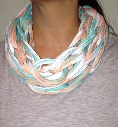Arm knitted tee-shirt yarn single infinity scarves.