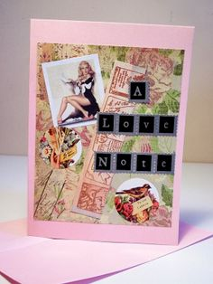 Handmade Greeting Card A LOVE NOTE Pin Up Model Card by jillianlyonsdesigns, $3.50