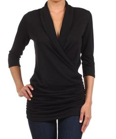 Another great find on #zulily! Black Gathered Surplice Top #zulilyfinds
