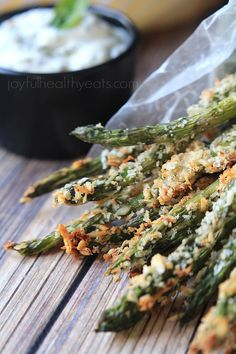 Baked Asparagus Fries with Lemon Herb Aioli