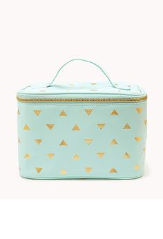 Metallic Triangle Print Cosmetic Bag