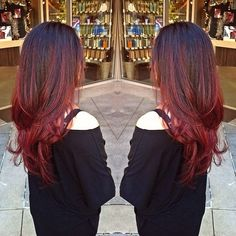 dark red balayage ombre