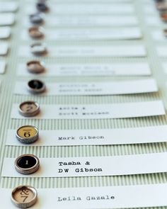 Typewriter key escort cards