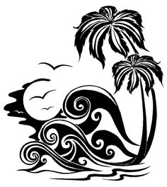Palm trees and waves Nautical & Ocean Life custom vinyl decals for home, office, or auto.  https://www.etsy.com/listing/130136178/beach-vinyl-wall-graphic-palm-tree-and?ref=shop_home_feat