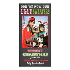 Chalkboard Ugly Christmas Sweater Photo Card. Send this to your friends and family for the holidays. Too funny! LOVE