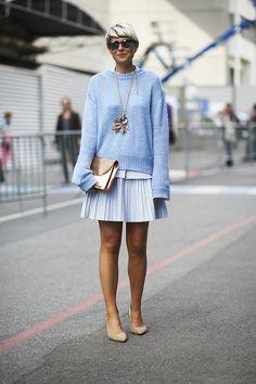 Elisa Nalin at Paris Fashion Week Spring 2014. Pastel in street style