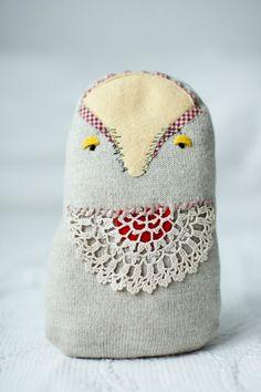 Sleepy owl, soft art toy