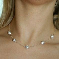 Jasmine . Swarovski rhinestones Necklace (sterling silver)