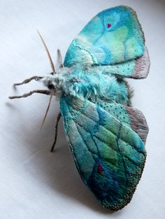 Fabric sculpture Large Turquoise Moth textile art by irohandbags (looks like Mr Finch)