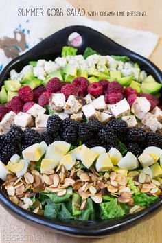 Simple Summer Cobb Salad Recipe! #salad #cobbsalad #summer #berries (plus tofu, minus chicken, cheese, and eggs)