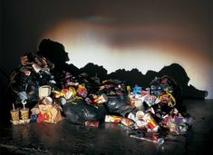 "Tim Noble & Sue Webster, ""WASTED YOUTH"", 2000, Trash, replica food, McDonalds packaging, wood, light projector, 210 x 134 x 66 cm (822/3 x 523/4 x 26 in)"