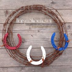 © Horseshoe Barbed Wire Wreath. Western Home Decor by HorseShoeFever.  USA! Holidays, Red, White, Blue, Military, Barbed Wire, Decorations, Vintage, Reclaimed, CA, Country, Farm, Ranch, Horse, Horses, Patriotic, Rustic, America, Cowboy, Cowgirl, Barbwire, Labor Day, Memorial Day, 4th of July, Interior Design, Rooms Wall Art