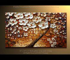 """Pintura del Arbol del cerezo Pintura al óleo de acrílico de 36 """"x 24"""" Purple, Cream, rojos, naranja, azules, Marrón claro, de P. Nizamas"""
