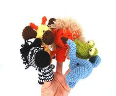 5 finger puppet crocheted lion giraffe elephant zebra by crochAndi, $34.00