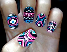 Blue and Pink Neon Aztec/Tribal Fake Nails by CompulsiveNails, $25.00