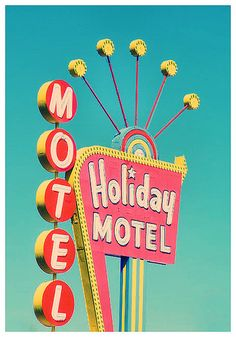 las vegas, holiday motel, neon sign, vintage holiday, color