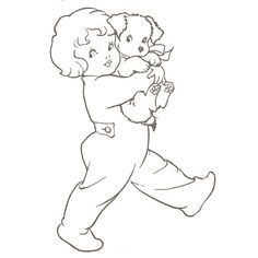 little girls, embroidery patterns, hand embroideri, embroidery puppies, girl puppi