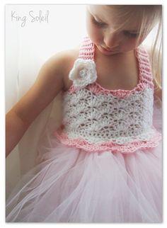 Flower Girl Tutu Dress Crochet Bodice Photography Prop Ballerina Baby Pink and White Size Infant to Child 6. $75.00, via Etsy.