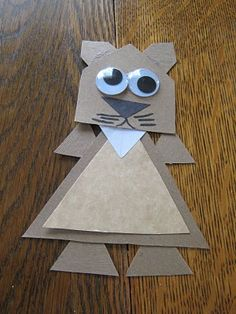 Almost Unschoolers: Groundhog Shape Craft - Triangles