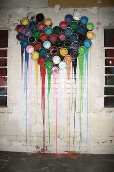 Paint cans. i want to do this to the outside of my studio!